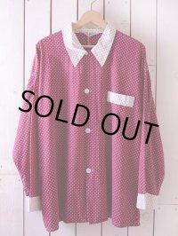 1950s【Glover】ツートン総柄パジャマシャツ 表記D 45-48