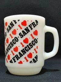 70s‐80s【FireKing】9オンスマグ I LOVE SAN FRANCISCO
