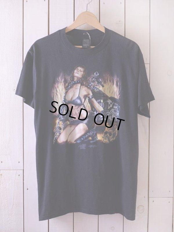 画像1: 1990s バイカースカルエロTシャツ  表記L