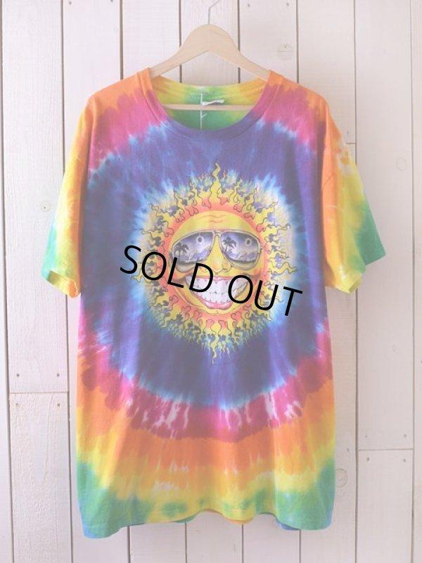 画像1: 1990s ゴキゲンな太陽タイダイTシャツ  表記XL