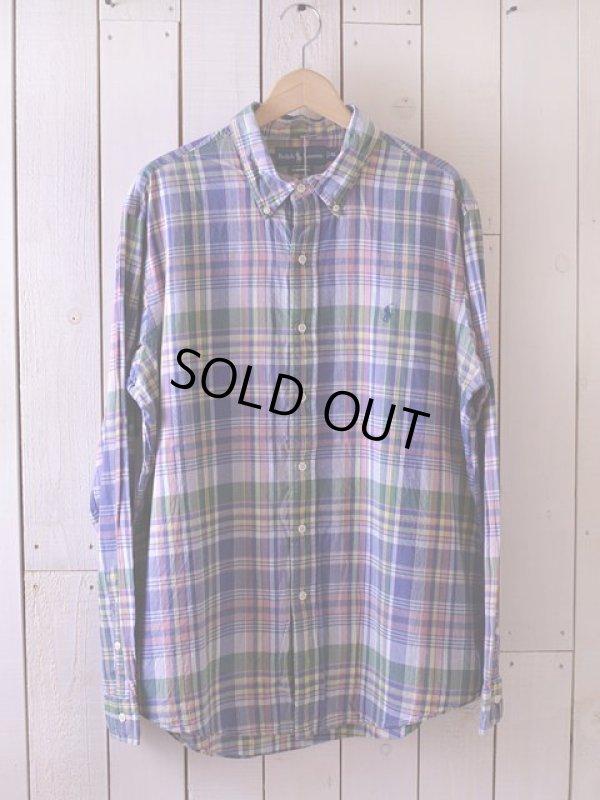 画像1: RalphLauren チェックBDシャツ  表記XL