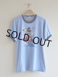 1980s Mickey Mouse Surfing 杢リンガーTシャツ  DEAD STOCK!!  表記XL