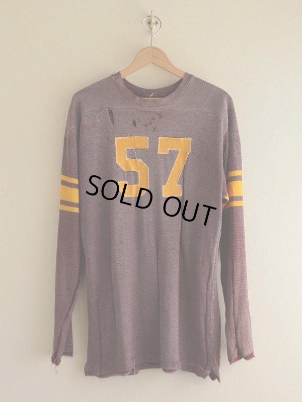 画像1: 1950s〜ナンバリングフットボールTシャツ  実寸L