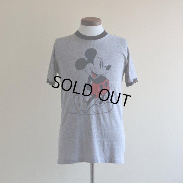 画像1: 1980s  MICKEY MOUSE リンガーTシャツ  杢灰×黒  表記L