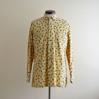 1980s ALAN FLUSSER チンスト付きプリントコーデュロイシャツ  表記M