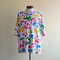 1990s カラフル総柄Tシャツ  実寸L