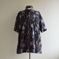1990s HIGH SEAS フライフィッシング柄 コットンシャツ  MADE IN USA  表記L